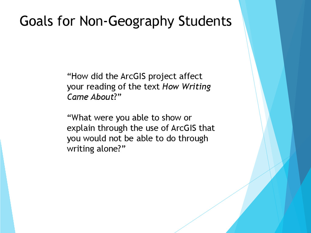 """How did the ArcGIS project affect your reading..."