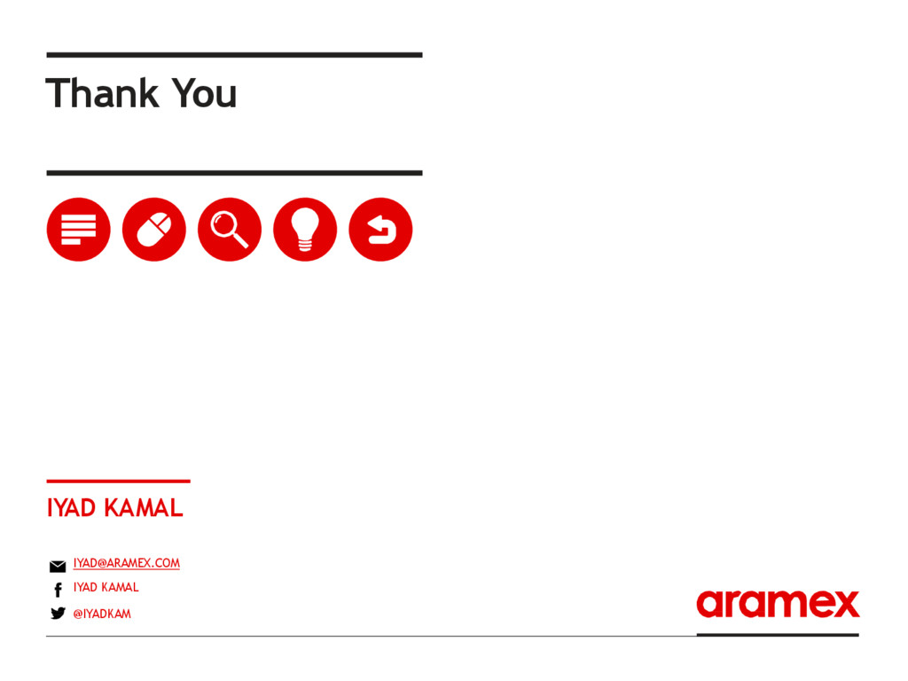 Thank You IYAD KAMAL IYAD@ARAMEX.COM IYAD KAMAL...