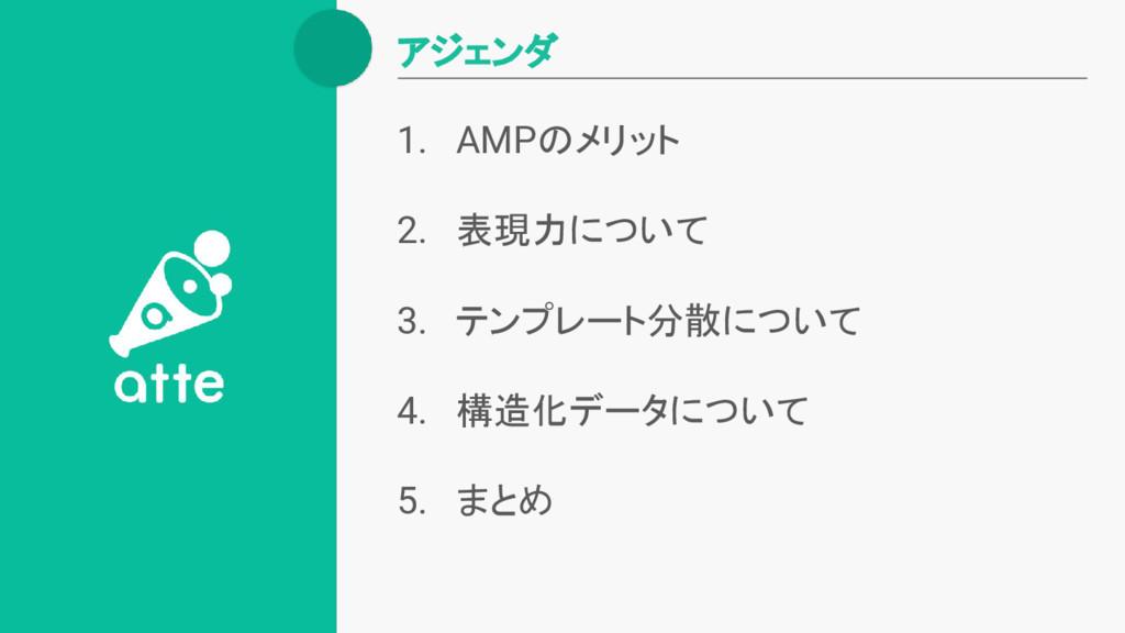 1. AMPのメリット 2. 表現力について 3. テンプレート分散について 4. 構造化デー...