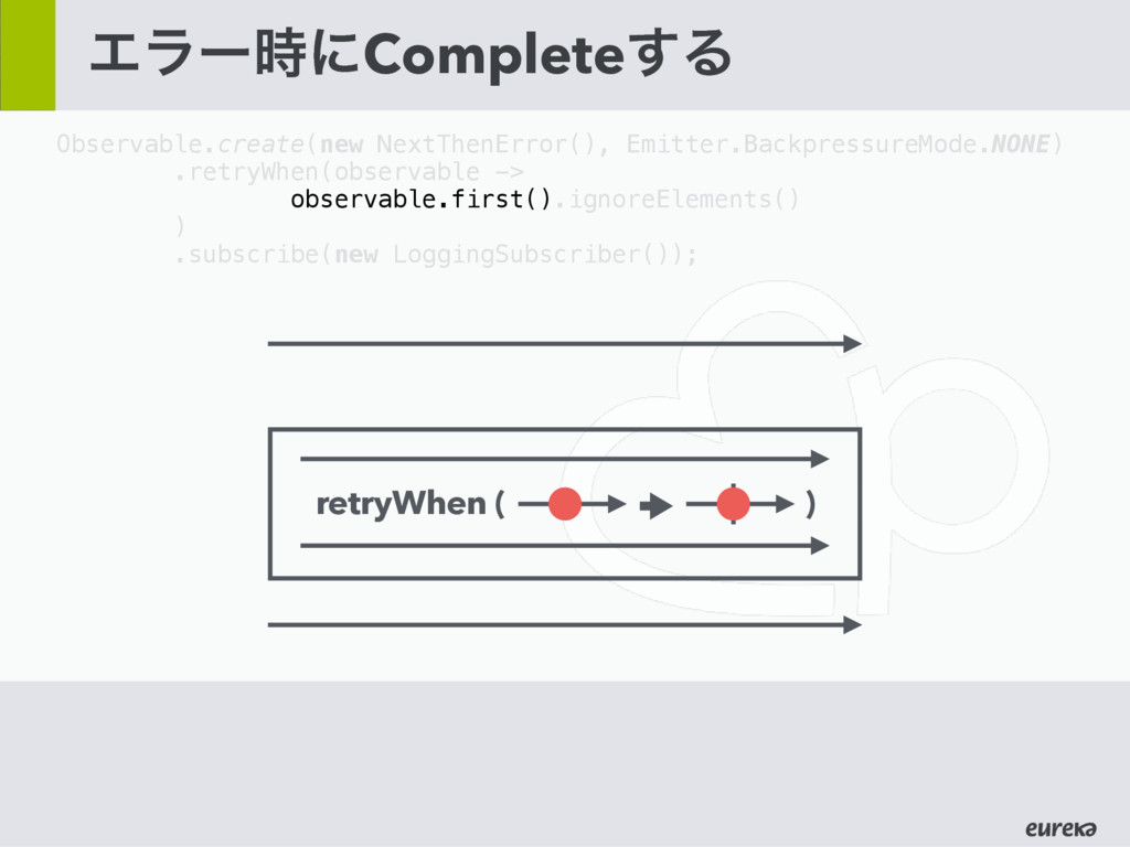 Τϥʔ࣌ʹComplete͢Δ Observable.create(new NextThenE...