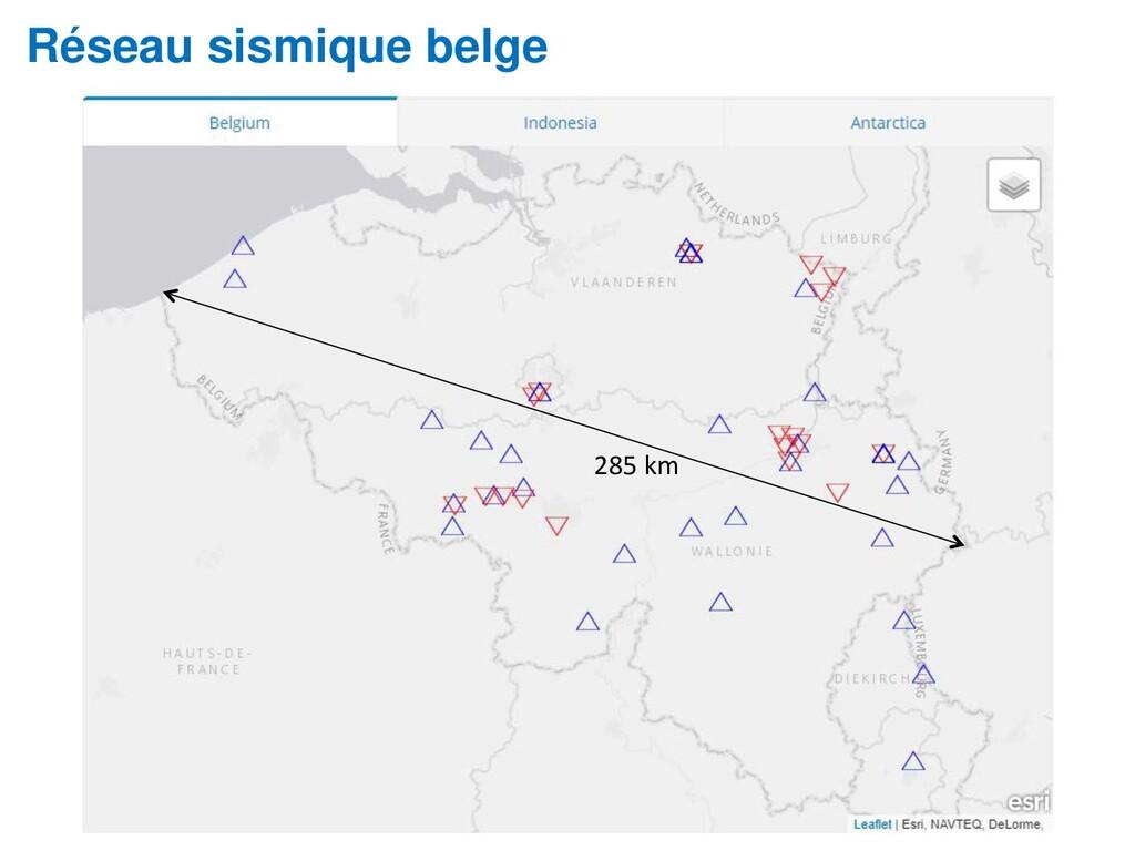 Réseau sismique belge 285 km