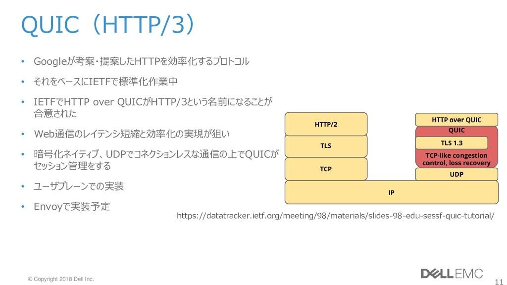 11 © Copyright 2018 Dell Inc. QUIC(HTTP/3) • Go...
