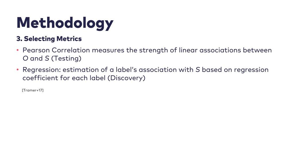 Methodology 3. Selecting Metrics • Pearson Corr...
