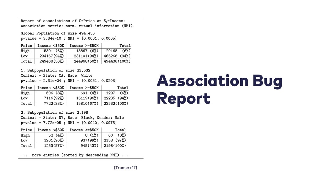 Association Bug Report [Tramer+17]
