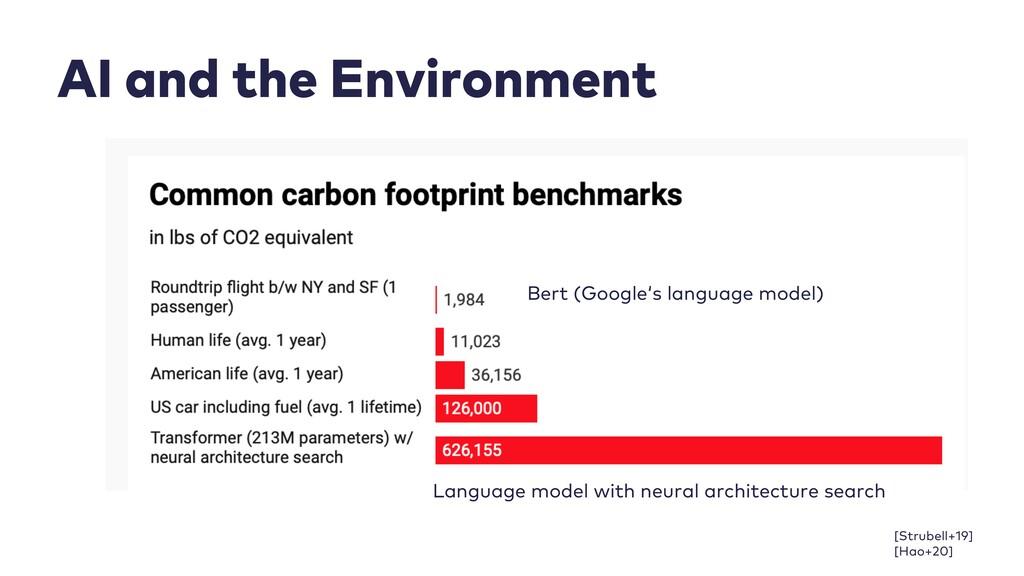 AI and the Environment Bert (Google's language ...