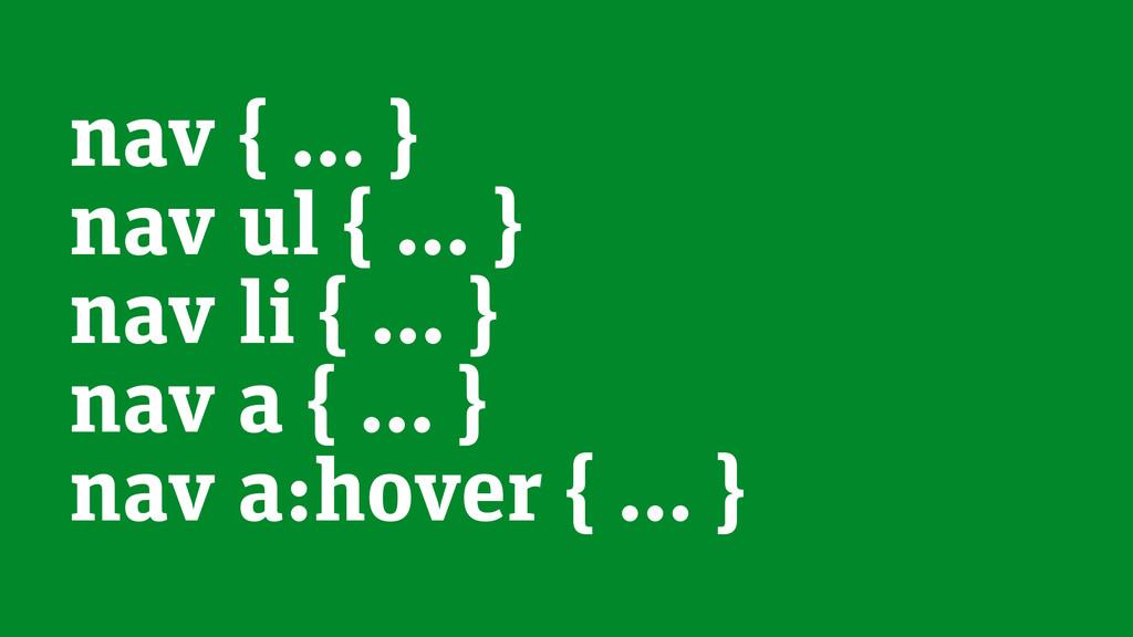 nav { … } nav ul { … } nav li { … } nav a { … }...