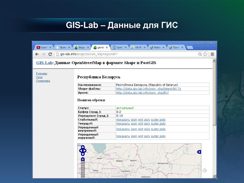 GIS-Lab – Данные для ГИС