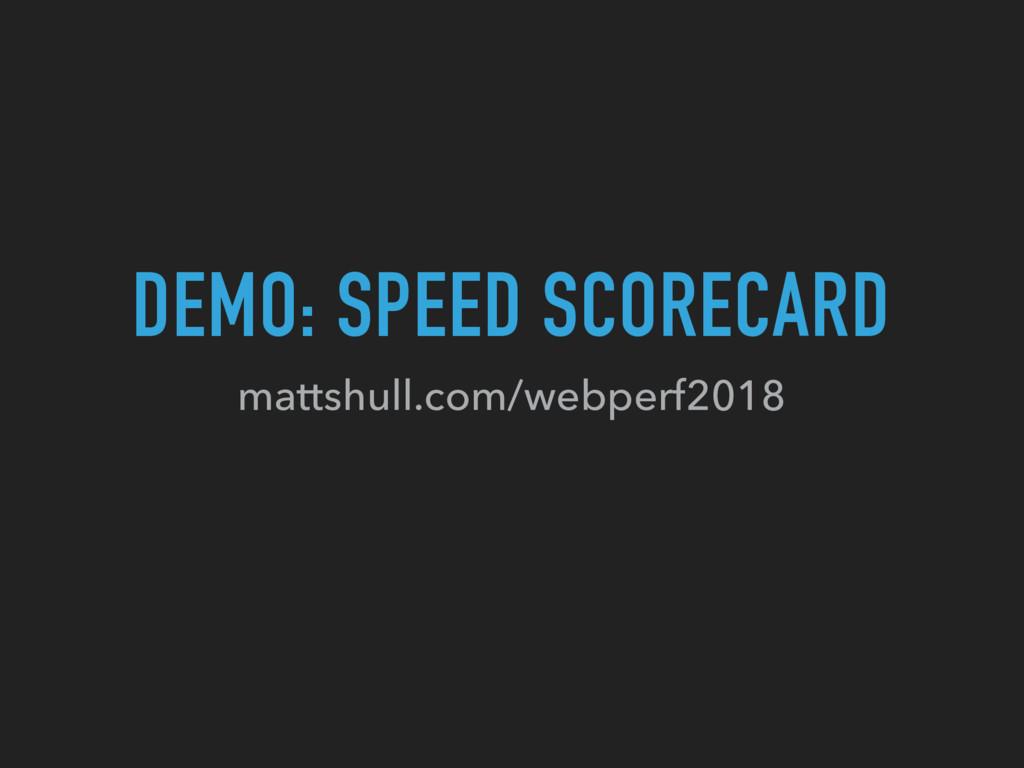 DEMO: SPEED SCORECARD mattshull.com/webperf2018