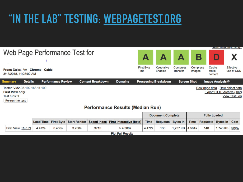 """IN THE LAB"" TESTING: WEBPAGETEST.ORG"