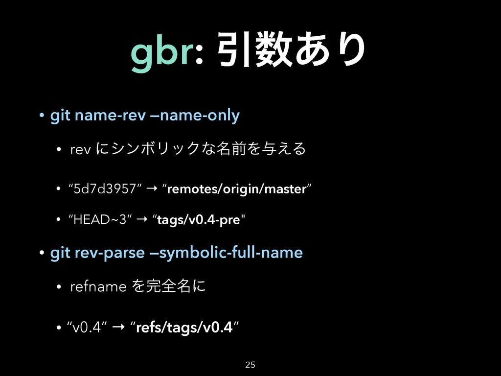 gbr: Ҿ͋Γ • git name-rev —name-only • rev ʹγϯϘϦ...