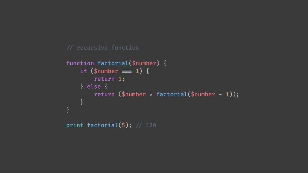 !// recursive function function factorial($numb...