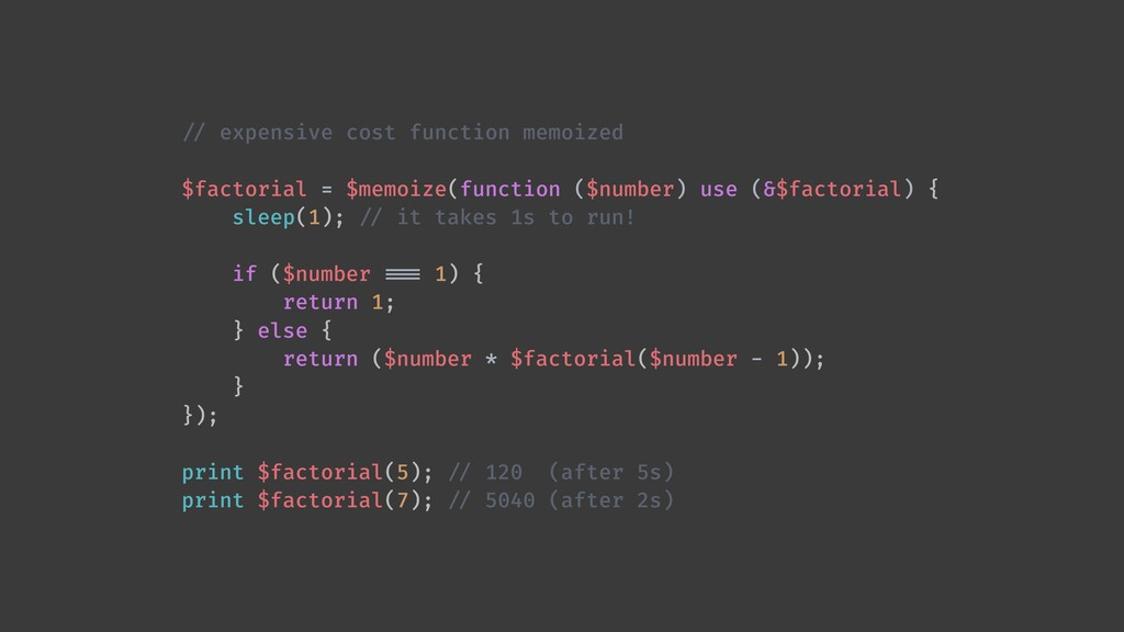 !// expensive cost function memoized $factorial...