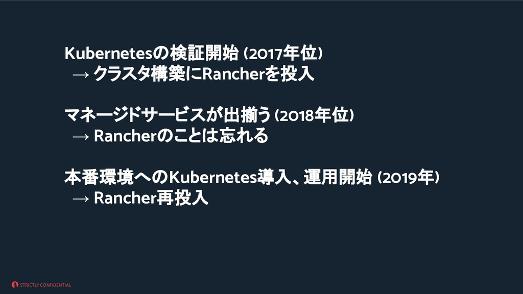 STRICTLY CONFIDENTIAL Kubernetes 検証開始 (2017年位) ...