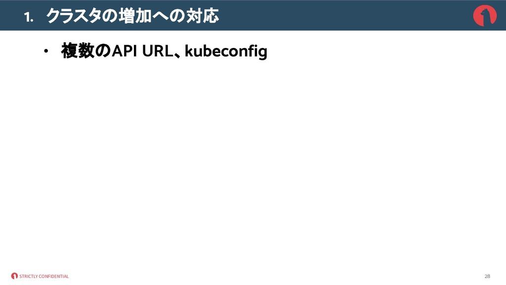 STRICTLY CONFIDENTIAL 1. クラスタ 増加へ 対応 • 複数 API U...