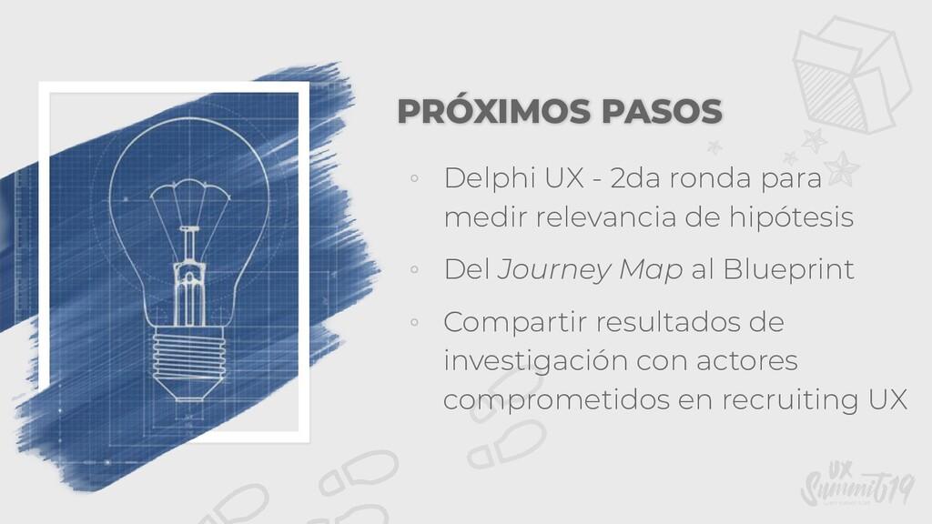 PRÓXIMOS PASOS ◦ Delphi UX - 2da ronda para med...