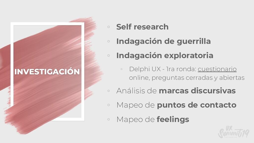 INVESTIGACIÓN ◦ Self research ◦ Indagación de g...
