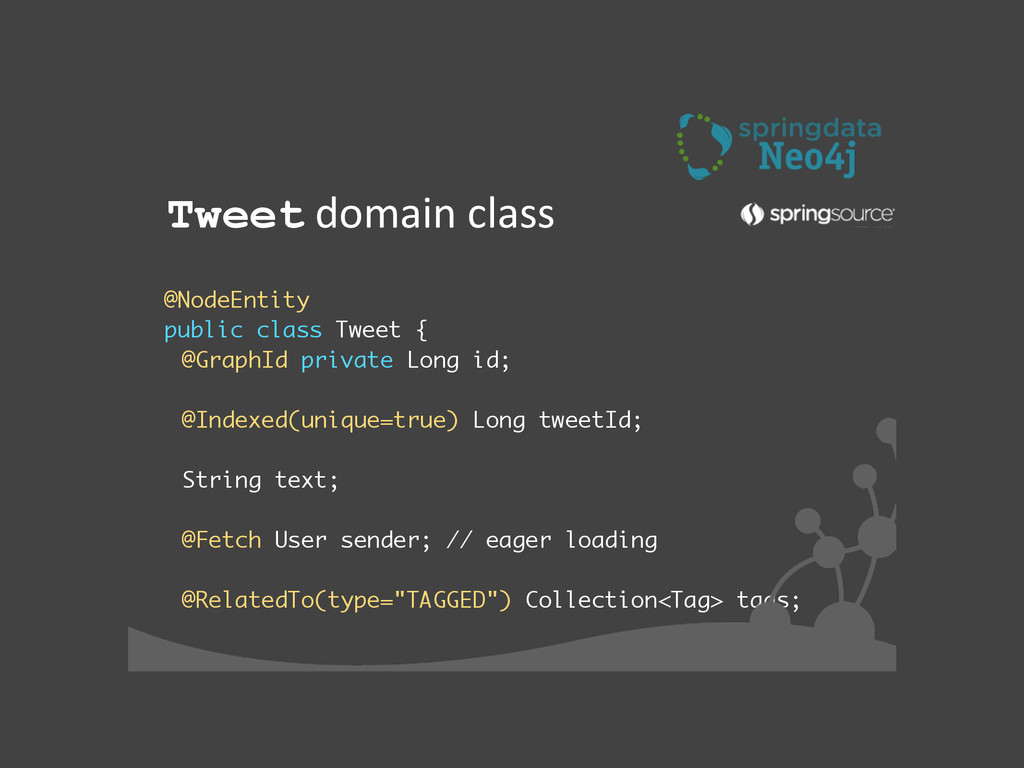 ! @NodeEntity public class Tweet { @GraphId pri...