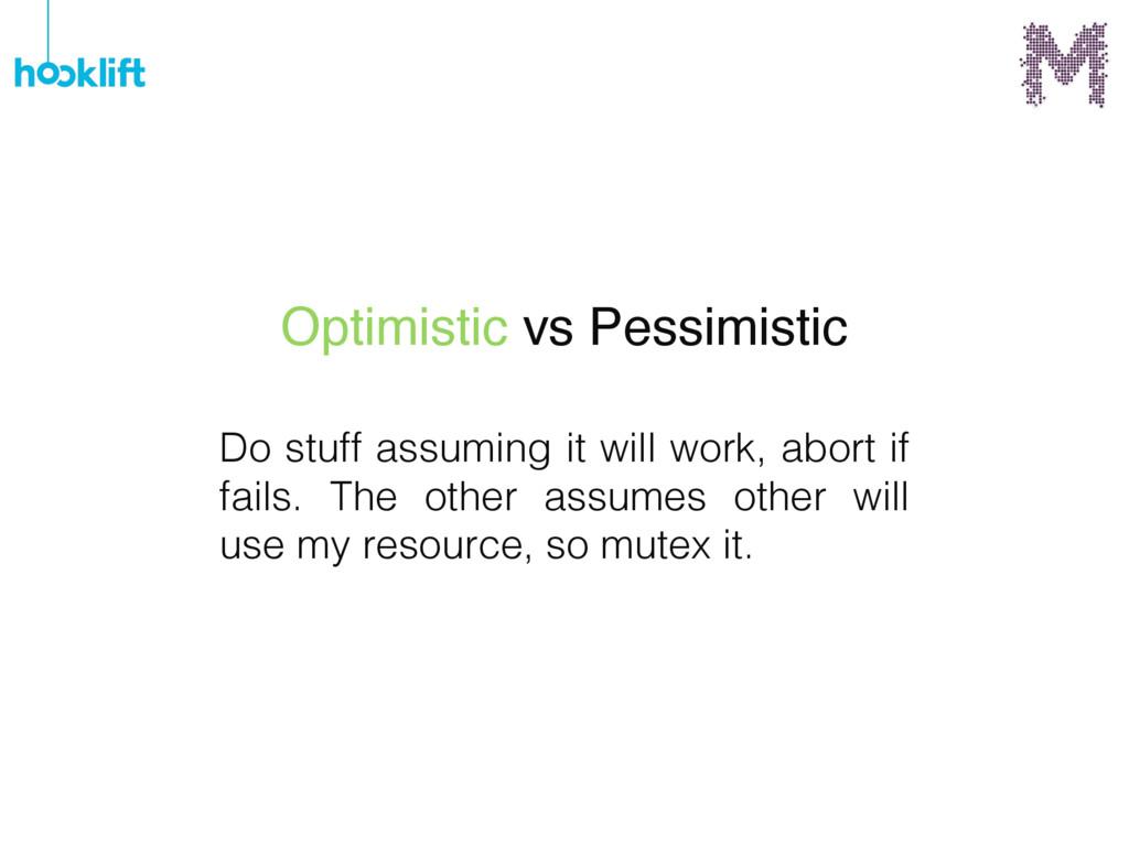 Optimistic vs Pessimistic Do stuff assuming it ...