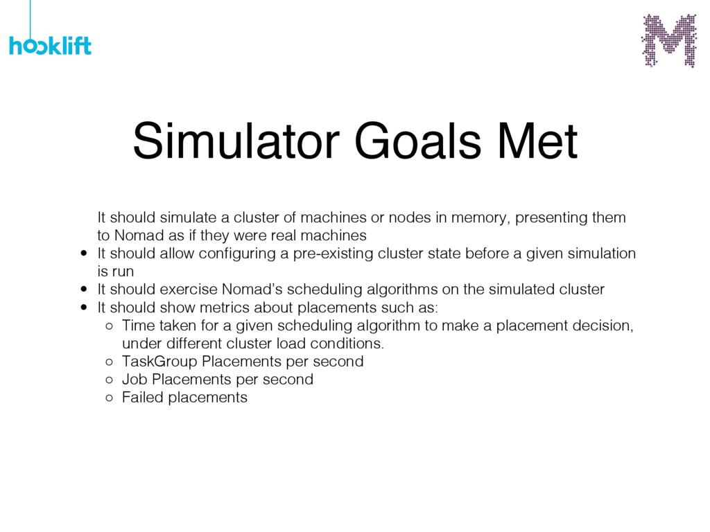 Simulator Goals Met It should simulate a cluste...