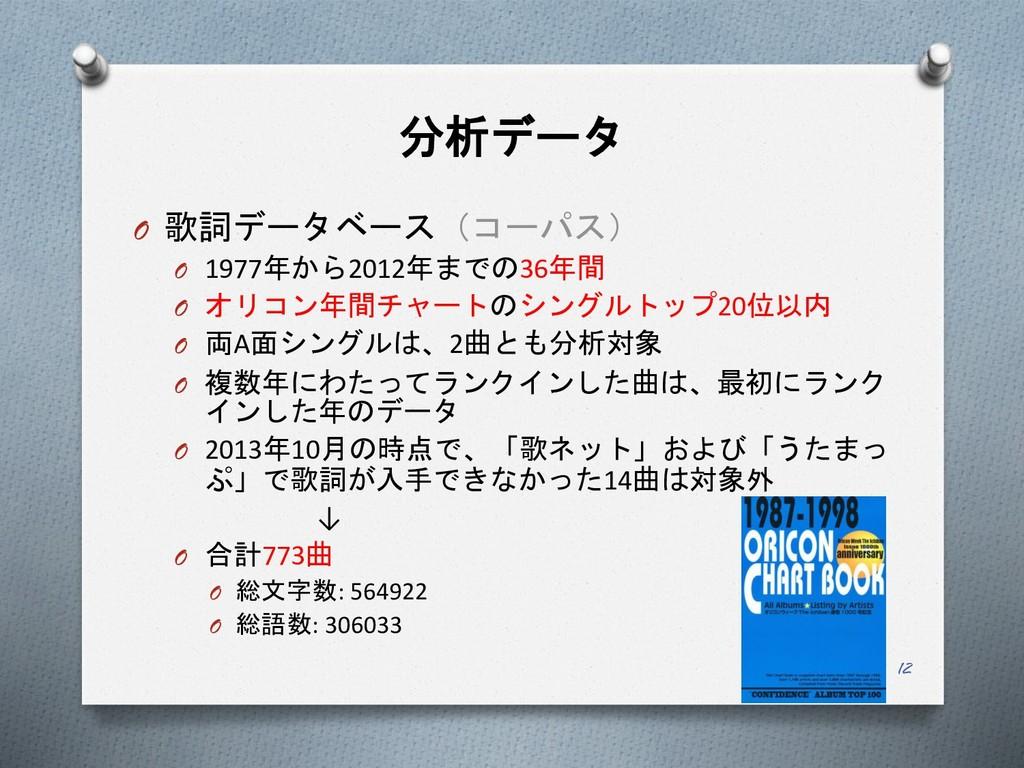 分析データ O 歌詞データベース(コーパス) O 1977年から2012年までの36年間 O ...