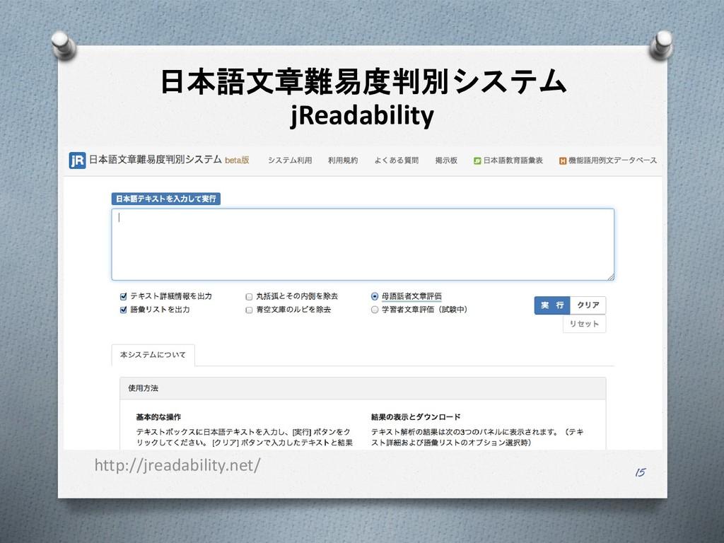 日本語文章難易度判別システム jReadability 15 http://jreadabil...