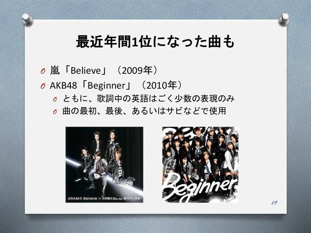 最近年間1位になった曲も O 嵐「Believe」(2009年) O AKB48「Beginn...