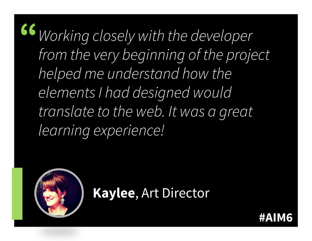 """#AIM6 """" Working closely with the developer from..."""