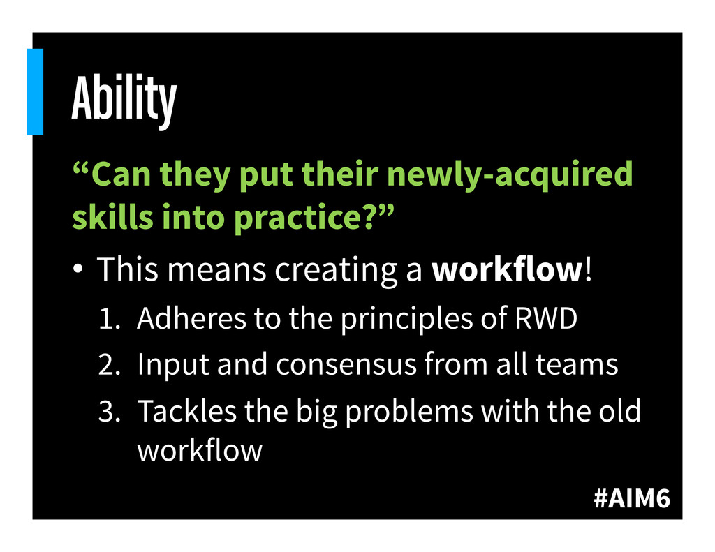"""#AIM6 Ability """"Can they put their newly-acquire..."""