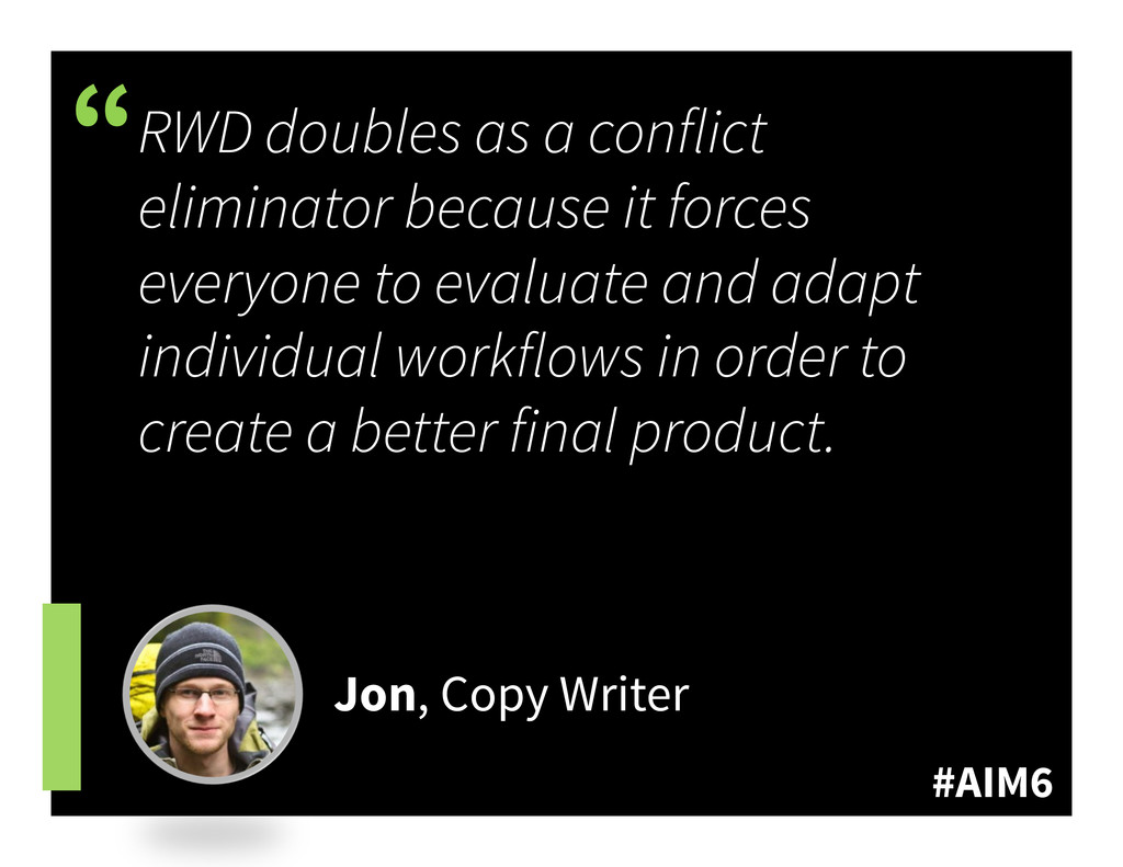 """#AIM6 """" RWD doubles as a conflict eliminator be..."""