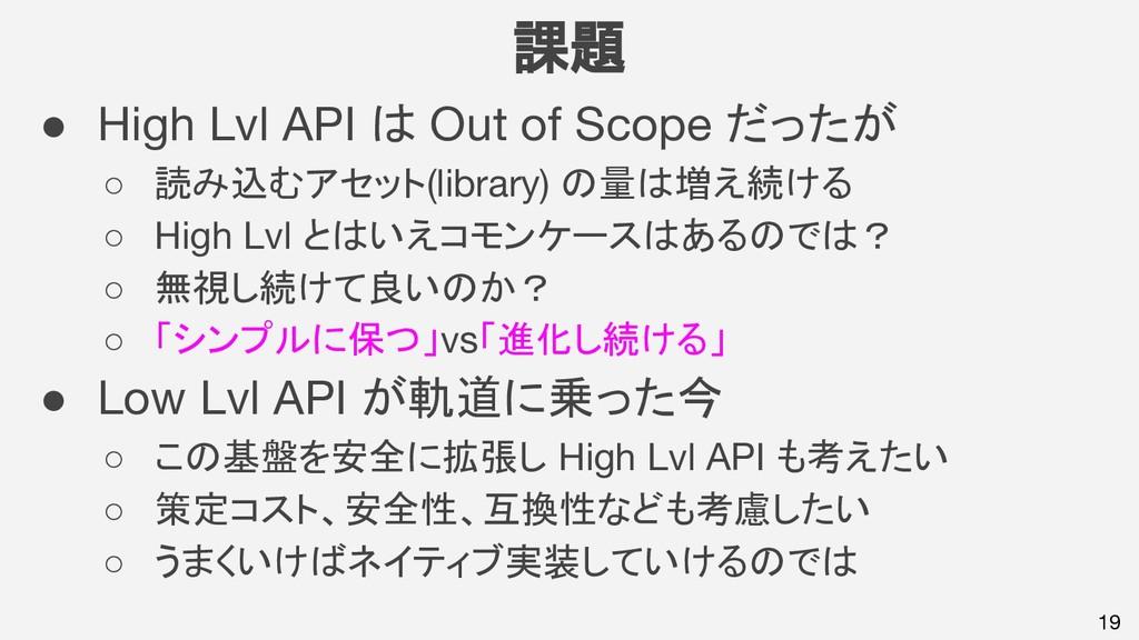 19 課題 ● High Lvl API は Out of Scope だったが ○ 読み込む...