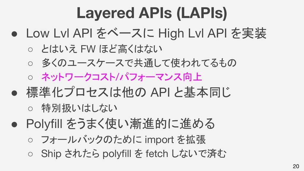 Layered APIs (LAPIs) ● Low Lvl API をベースに High L...