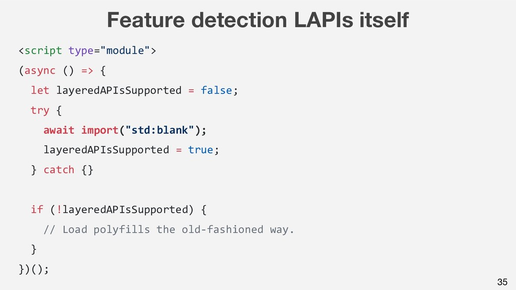 "Feature detection LAPIs itself <script type=""mo..."