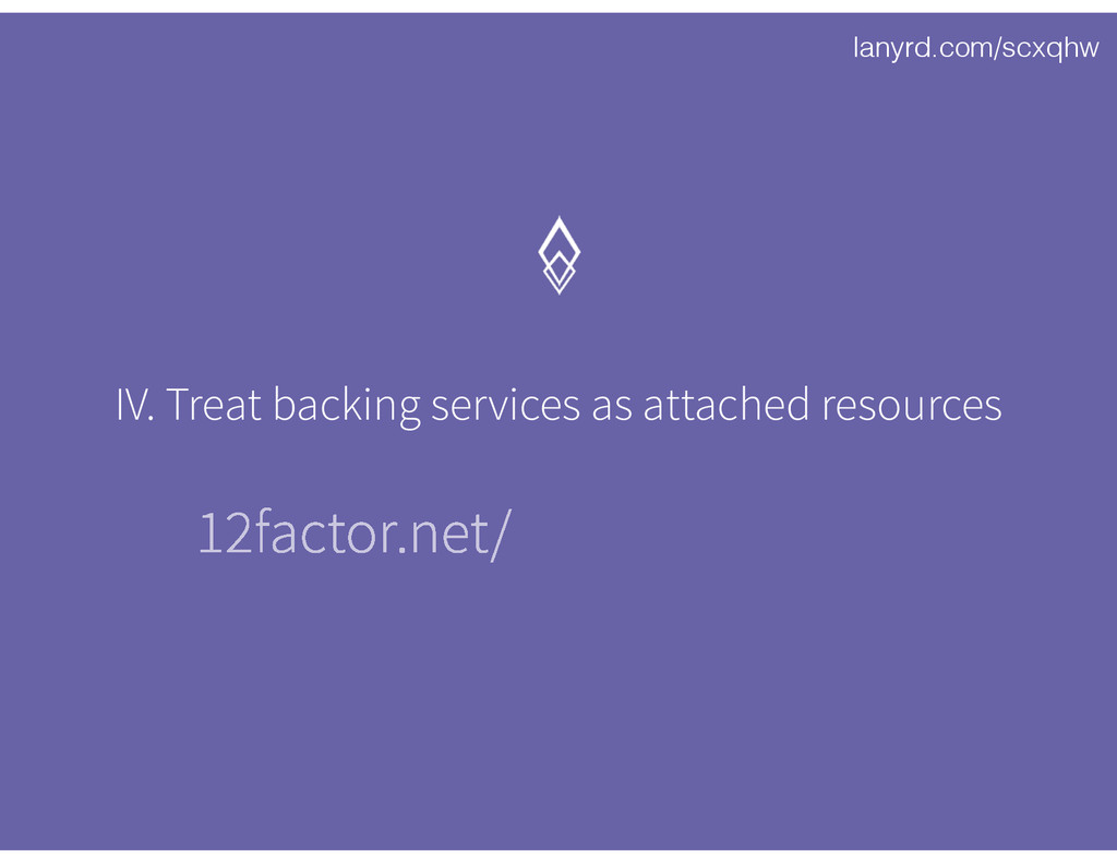 lanyrd.com/scxqhw IV. Treat backing services as...