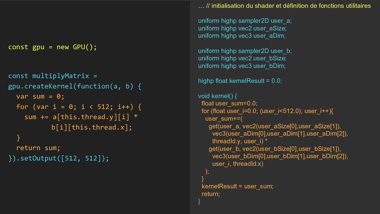 … // initialisation du shader et définition de ...
