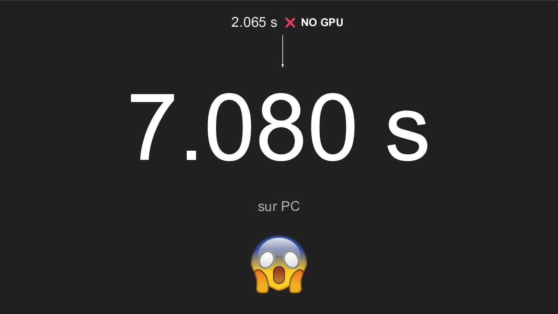 7.080 s sur PC 2.065 s NO GPU
