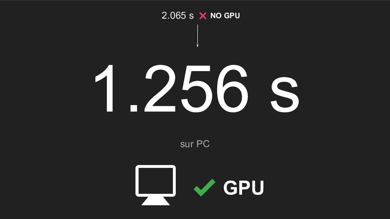 1.256 s sur PC GPU 2.065 s NO GPU