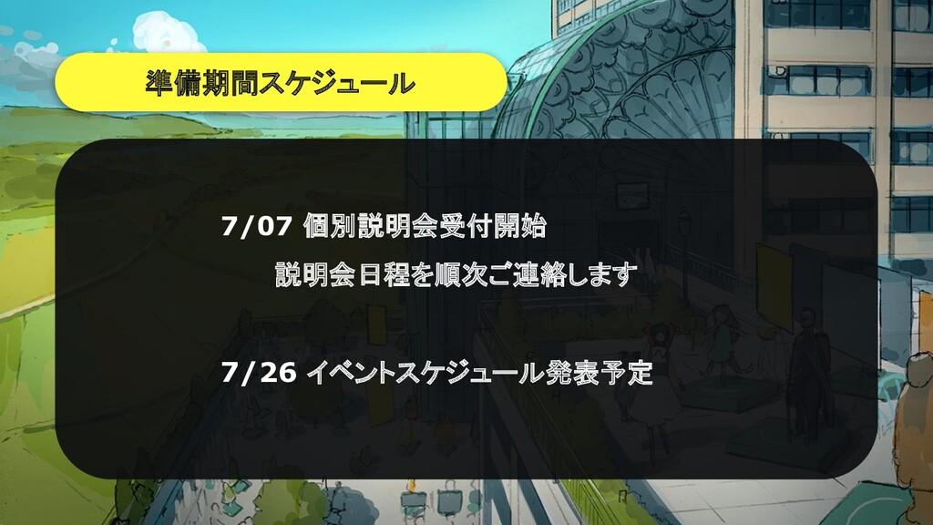 準備期間スケジュール 7/07 個別説明会受付開始    説明会日程を順次ご連絡します 7/2...