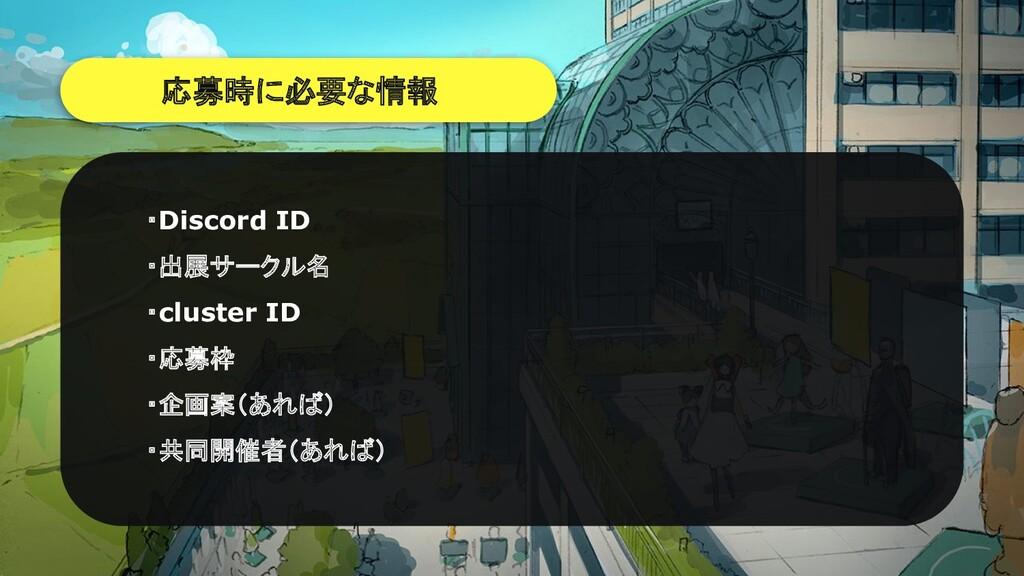 応募時に必要な情報 ・Discord ID ・出展サークル名 ・cluster ID ・応募枠...