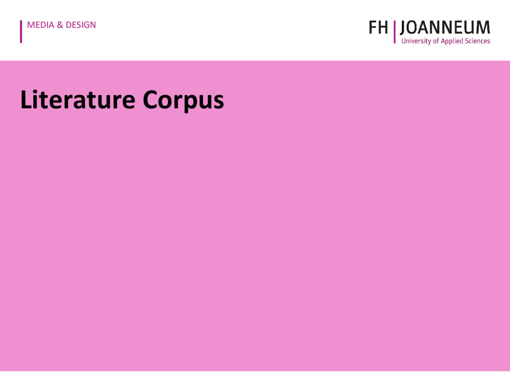MEDIA & DESIGN Literature Corpus