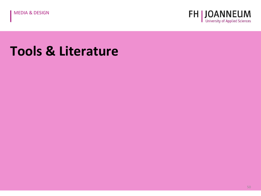 MEDIA & DESIGN Tools & Literature 50