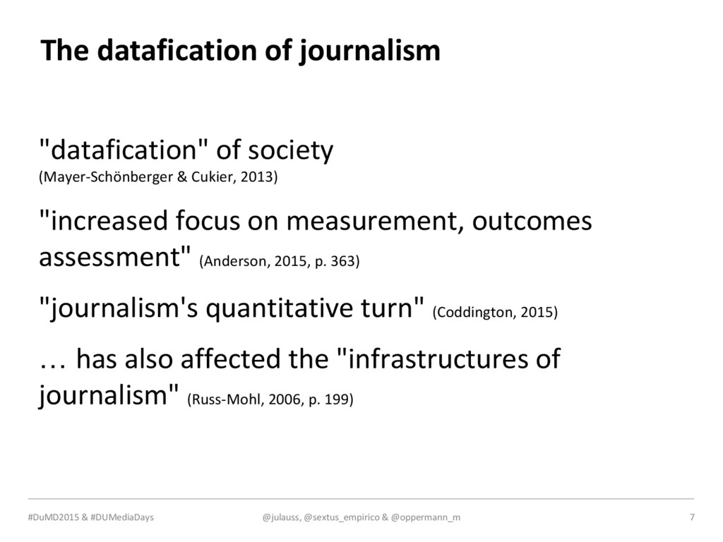 MEDIA & DESIGN The datafication of journalism @...