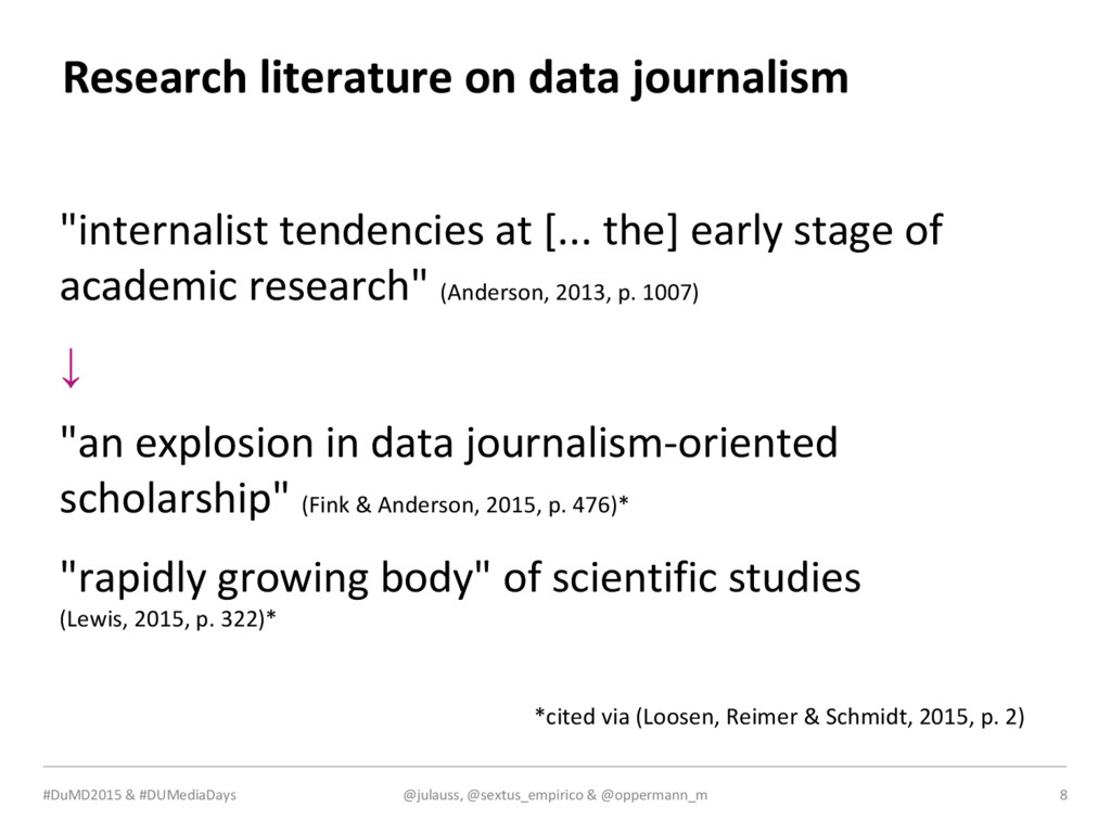 MEDIA & DESIGN Research literature on data jour...