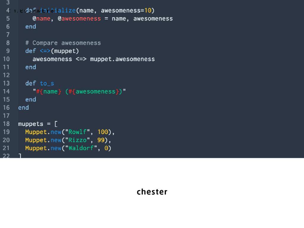 chester [ 1 . ビ ジ ュア ル 化 す る ]