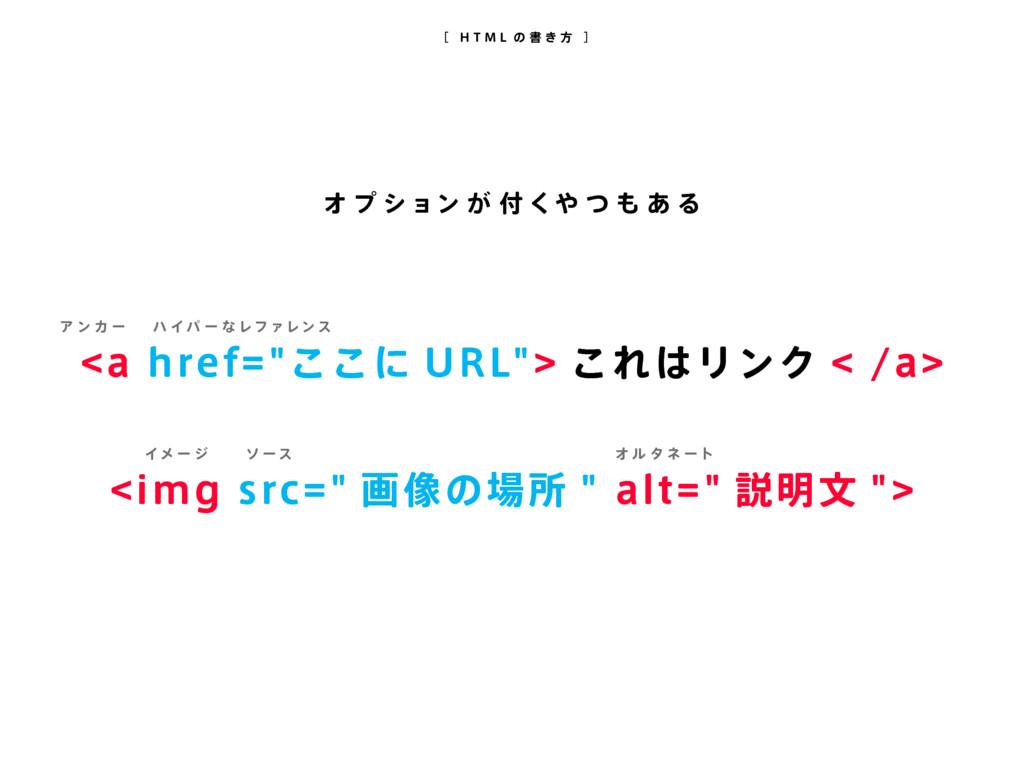 """[ H T M L の 書 き 方 ] <a href=""""ここに URL""""> これはリンク <..."""