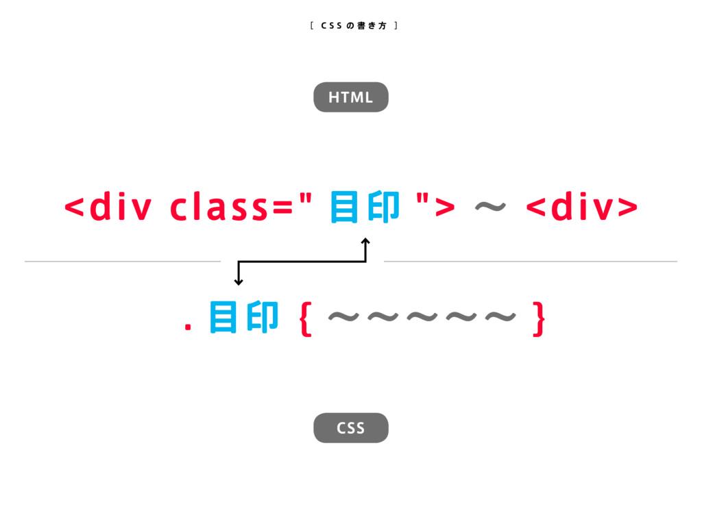 ". 目印 { 〜〜〜〜〜 } <div class="" 目印 ""> 〜 <div> [ C S..."