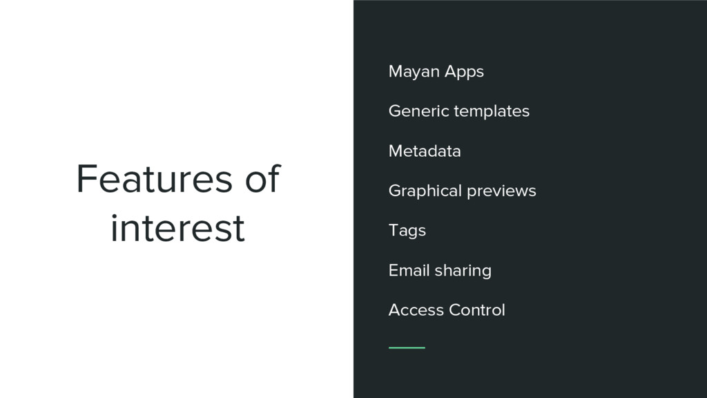 Features of interest Mayan Apps Generic templat...