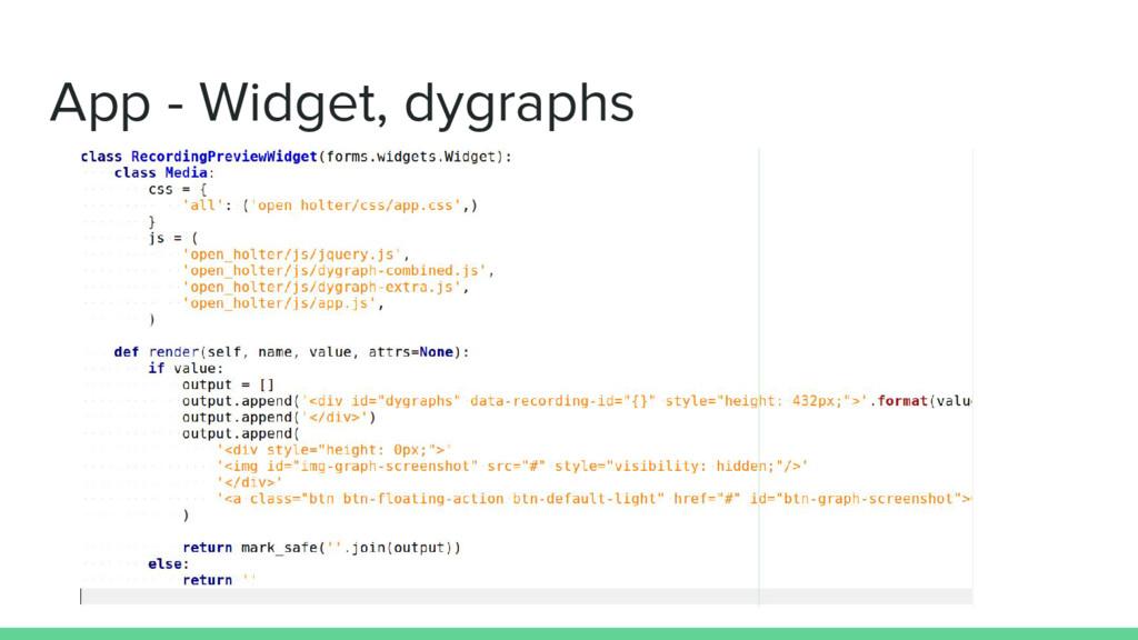 App - Widget, dygraphs