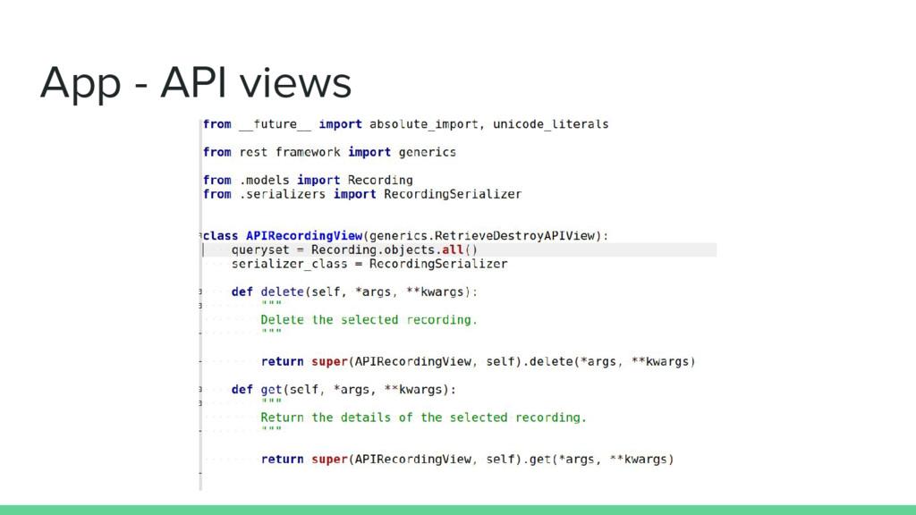 App - API views
