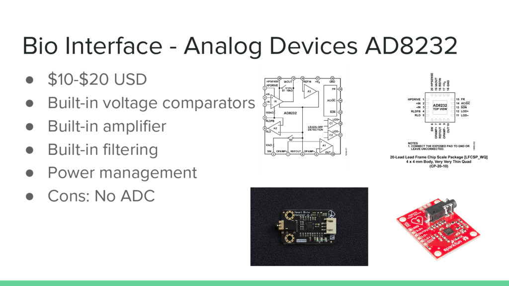 Bio Interface - Analog Devices AD8232 ● $10-$20...
