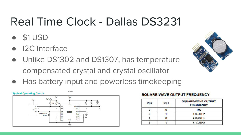 Real Time Clock - Dallas DS3231 ● $1 USD ● I2C ...